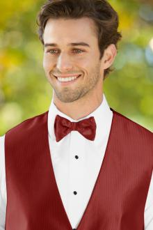 Herringbone Apple Red Bow Tie