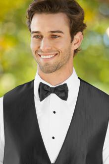 Herringbone Black Bow Tie