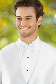 Herringbone White Bow Tie
