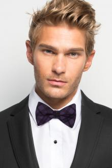 Eggplant Plaid Bow Tie