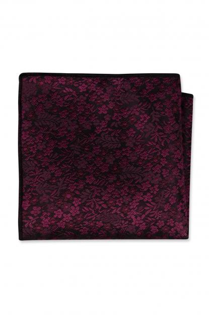 Cranberry Floral Pocket Square