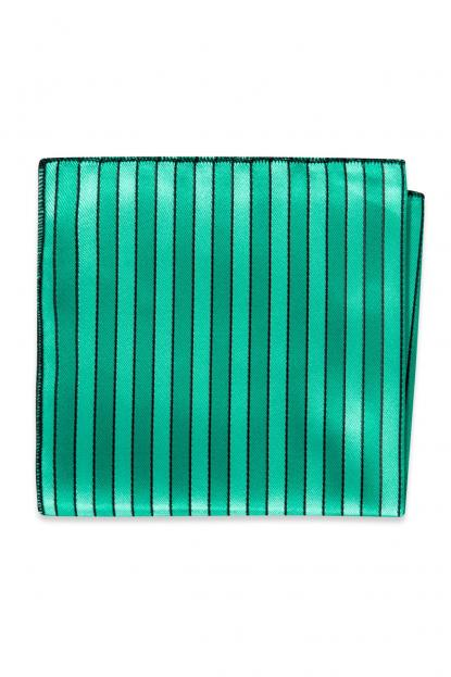 Jade Striped Pocket Square