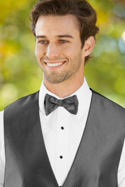 Herringbone Charcoal Bow Tie