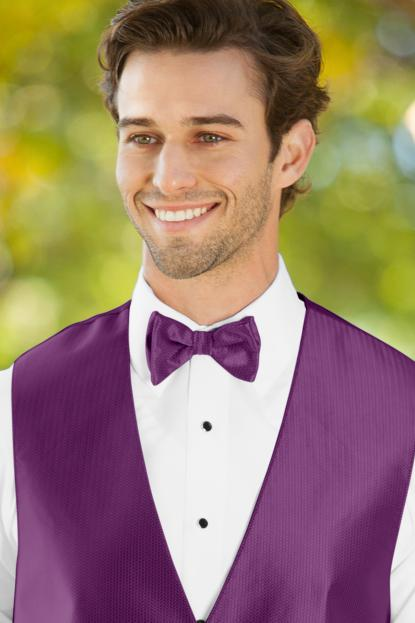 Herringbone Persian Plum Bow Tie