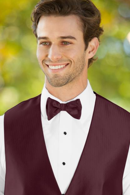 Herringbone Wine Bow Tie