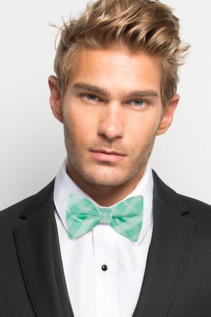 Mint Plaid Bow Tie
