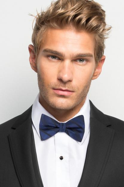 Navy Plaid Bow Tie