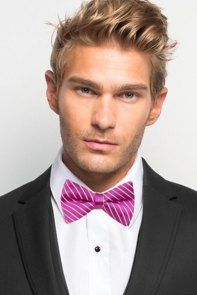 Begonia Striped Bow Tie