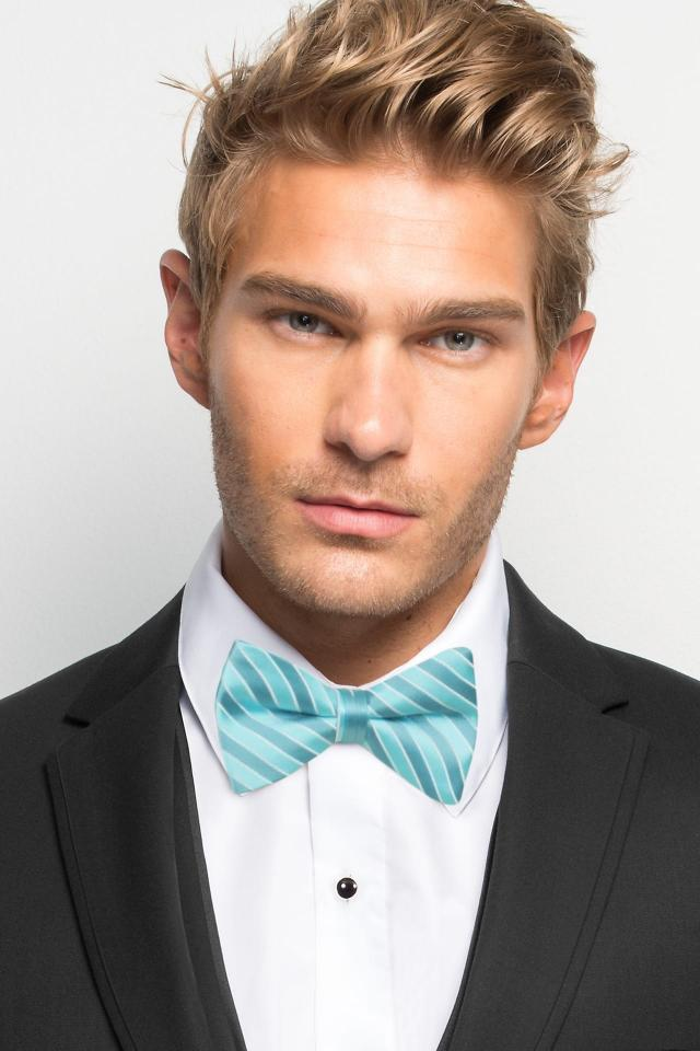 Turquoise Striped Bow Tie