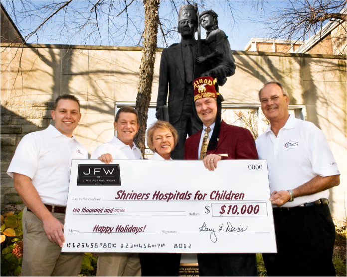 Jim's Formal Wear Family donates to the Shriners Hospital for Children